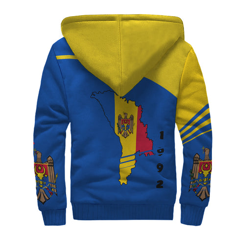Image of Moldova Sherpa Hoodie - Winner Ultra Edition II - Blue Yellow - Back - For Men and Women
