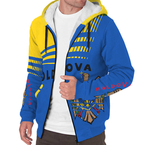 Image of Moldova Sherpa Hoodie - Winner Ultra Edition II - Blue Yellow - Front - For Men and Women
