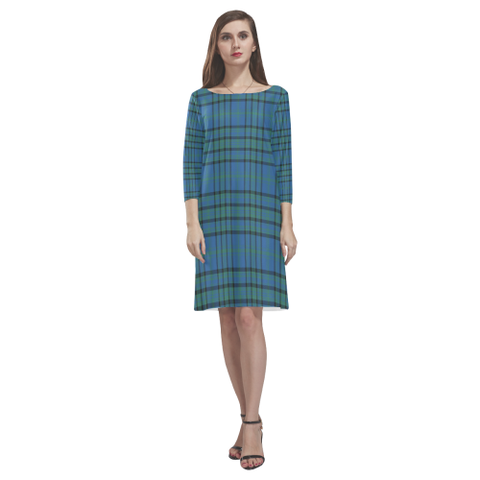 Matheson Hunting Ancient Tartan Dress - Rhea Loose Round Neck Dress NN5