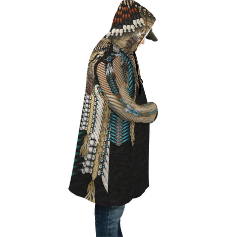 Native American Cloak - Tail Hawk Dreamcatcher 1st - Black - Sleeves - For Men and Women