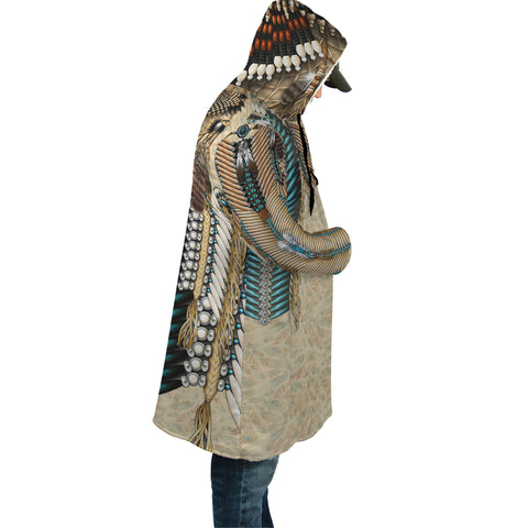 Native American Cloak - Tail Hawk Dreamcatcher 2nd - Light Brown - Sleeves - For Men and Women