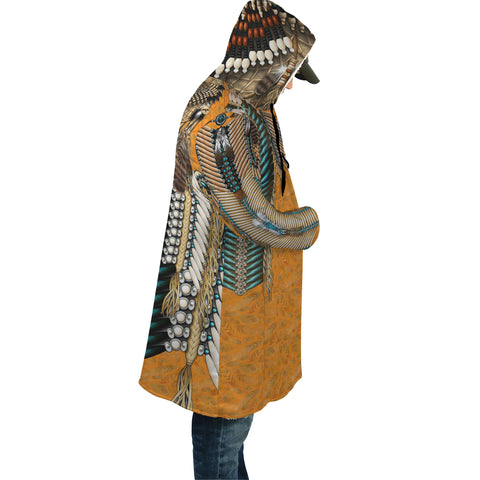 Native American Cloak - Tail Hawk Dreamcatcher 3th - Orange - Sleeves - For Men and Women