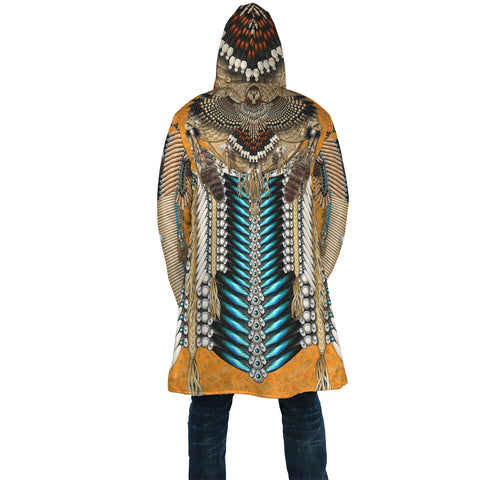Native American Cloak - Tail Hawk Dreamcatcher 3th - Orange - Back - For Men and Women
