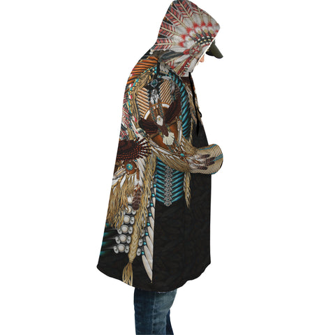 Native American Cloak - Mandala 1st - Black - Sleeves - For Men and Women