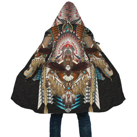 Native American Cloak - Mandala 1st - Black - Back - For Men and Women
