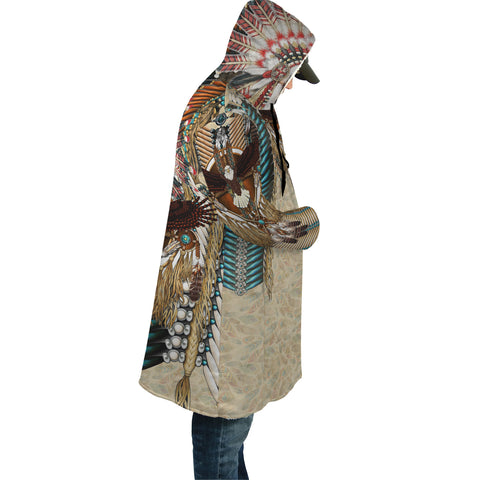 Image of Native American Cloak - Mandala 2nd - Light Brown - Sleeve - For Men and Women