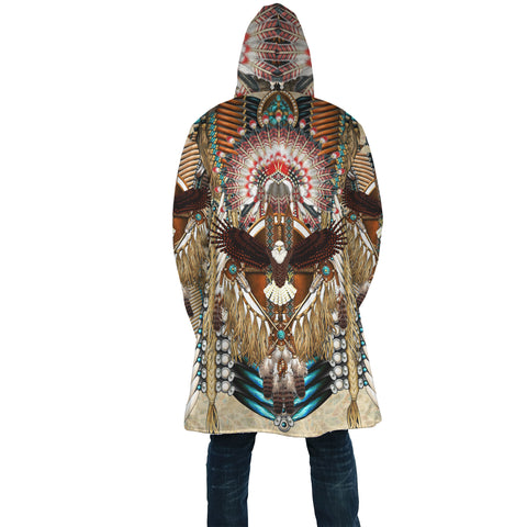 Image of Native American Cloak - Mandala 2nd - Light Brown - Back - For Men and Women