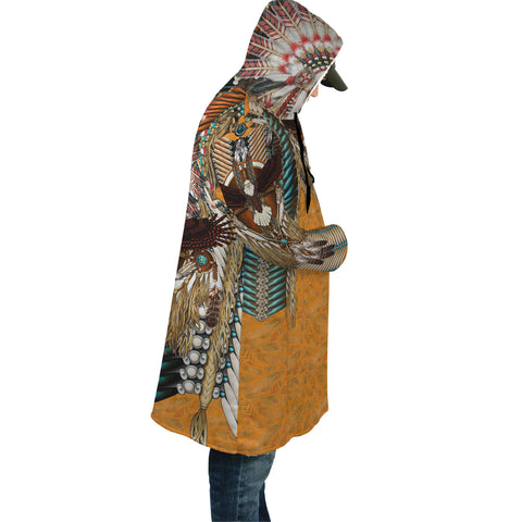 Native American Cloak - Mandala 3th - Orange - Sleeves - For Men and Women