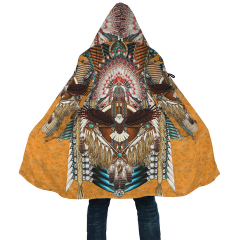 Native American Cloak - Mandala 3th - Orange - Back - For Men and Women