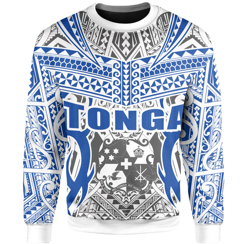 Tonga Sweatshirt - Kingdom of Tonga White Blue J0