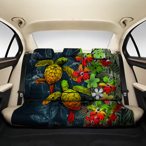 Kanaka Maoli (Hawaiian) Back Car Seat Covers - Sea Turtle Tropical Hibiscus And Plumeria Reggae A24