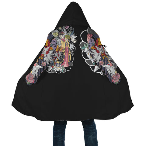 Image of Japan Cloak - Geisha Tatto with Koi Carp - Black - Back - For Men and Women
