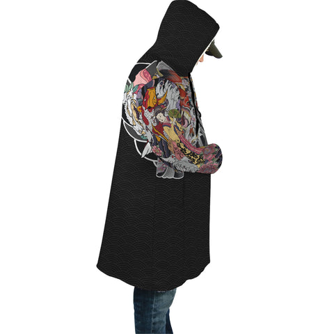 Image of Japan Cloak - Geisha Tatto with Koi Carp - Black - Sleeves - For Men and Women