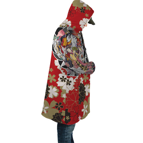 Japan Cloak - Geisha Tatto with Koi Carp Flower - Red - Sleeves - For Men and Women