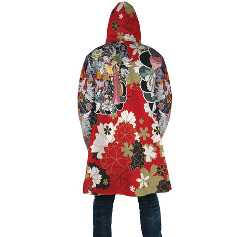 Japan Cloak - Geisha Tatto with Koi Carp Flower - Red - Back - For Men and Women