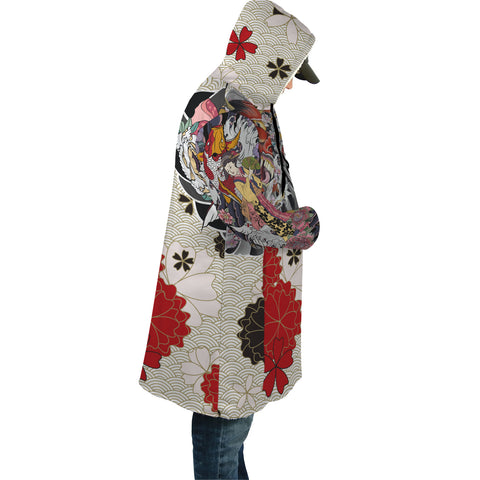 Image of Japan Cloak - Geisha Tatto with Koi Carp Flower - White - Sleeves - For Men and Women