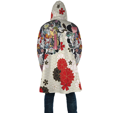 Japan Cloak - Geisha Tatto with Koi Carp Flower - White - Back - For Men and Women