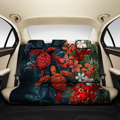 Kanaka Maoli (Hawaiian) Back Car Seat Covers - Sea Turtle Tropical Hibiscus And Plumeria Red A24
