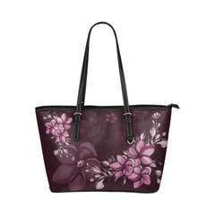 Hawaii Plumeria Leather Tote Bag H5