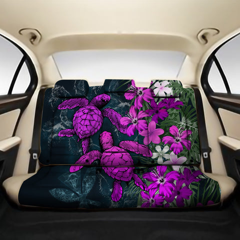 Kanaka Maoli (Hawaiian) Back Car Seat Covers - Sea Turtle Tropical Hibiscus And Plumeria Purple A24