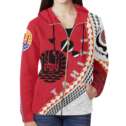 Image of Tahiti Zip Up Hoodie - Tahiti Map Generation IV Zip Up Hoodie - Red and White - Front - For Women