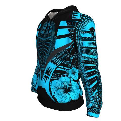 Image of Polynesian Tattoo Hoodie Hibiscus Blue - Side 2