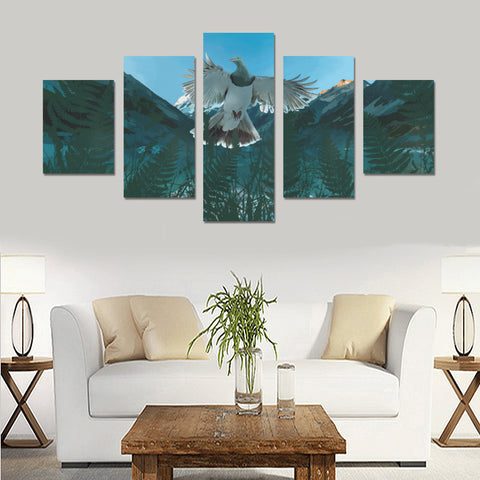 New Zealand Kereru Bird Silver Fern 5 Piece Framed Canvas 04 k7 (No Frame)