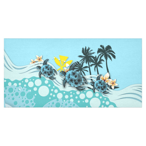 Image of Hawaii Tablecloth - Blue Turtle Hibiscus A24