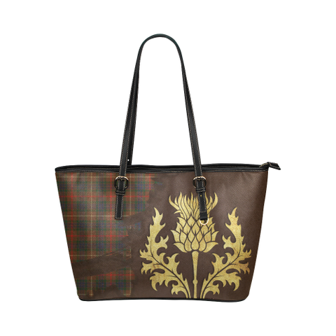 Fraser Hunting Modern Tartan - Thistle Royal Leather Tote Bag