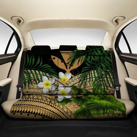 Kanaka Maoli (Hawaiian) Back Car Seat Covers - Polynesian Plumeria Banana Leaves Gold A02