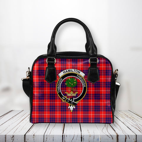 Tartan Shoulder Handbag - Hamilton Modern Clan Badge - Bn