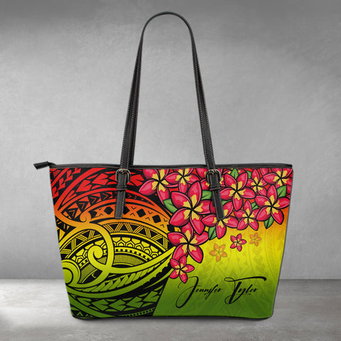 Image of (Custom) Polynesian Leather Tote - Polynersian Plumeria Reggae Personal Signature A24