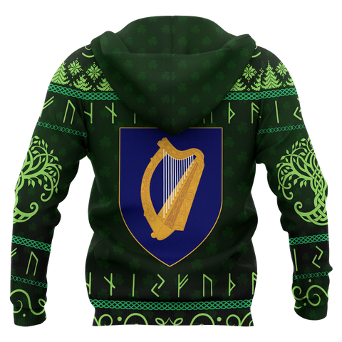 Ireland Christmas Zip-up Hoodie - Celtic Shamrock
