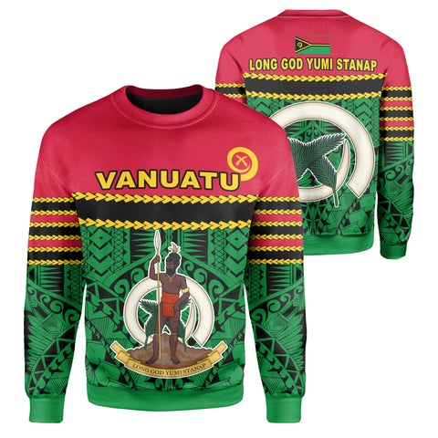 Image of 1sttheworld Vanuatu Coat Of Arms Polynesian Sweatshirt