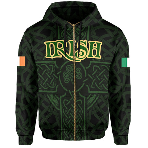 Ireland Zip Hoodie - Irish Celtic Cross | Clothing