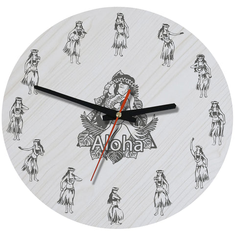 Image of Hawaii Hula Wooden Wall Clock J2