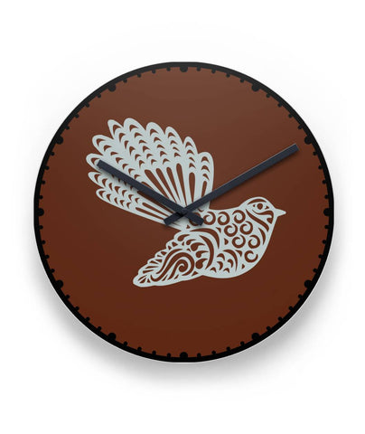 New Zealand Fantail Wall Clock K4