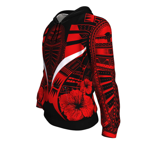 Polynesian Tattoo Hoodie Hibiscus Red - Side 2