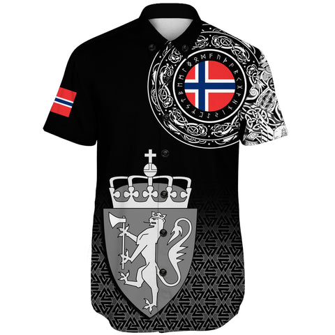 Viking Style Short Sleeve Shirt - Norway Coat Of Arms A31