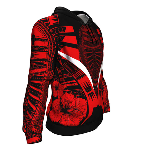 Polynesian Tattoo Hoodie Hibiscus Red - Side 1
