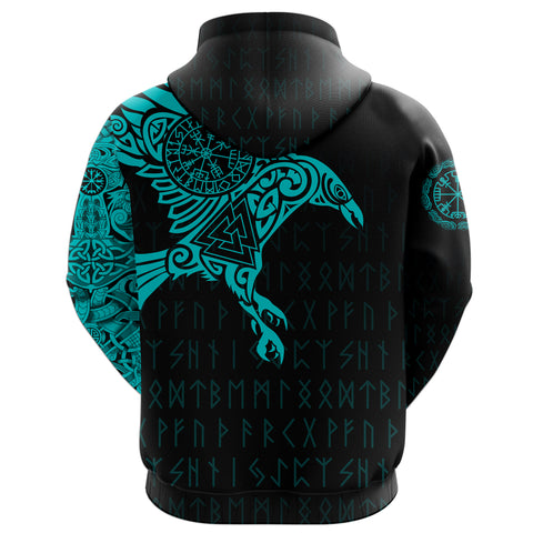 Vikings - The Raven Of Odin Tattoo Hoodie Blue A7