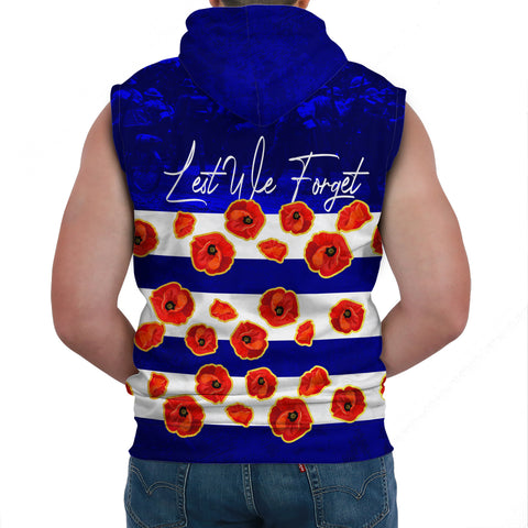 Australia Sleeveless Hoodie Lest We Forget Remembrance Day, Poppy A7