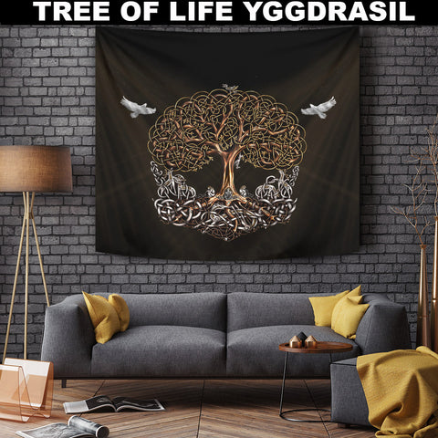 Image of Viking Tapestry - Viking Tree Of Life Yggdrasil | Hot Sale