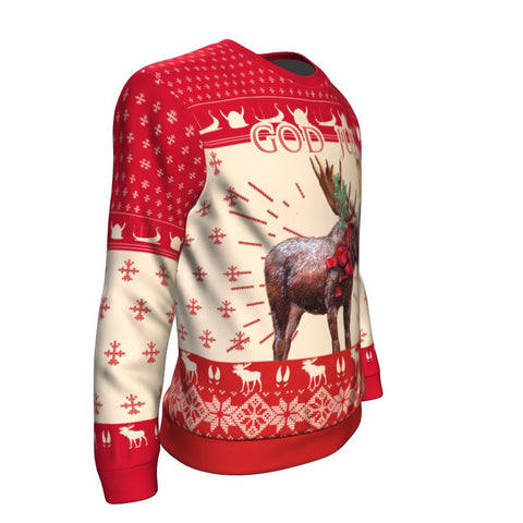 Image of Christmas Moose Norway™ Sweatshirt by 1sttheworld - Sleeves for Men and Women