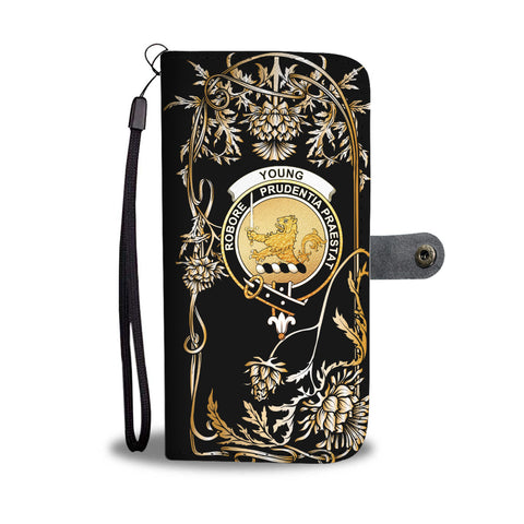 Image of Young Crest Wallet Phone Case - Luxuxy Scottish Thistle Golden