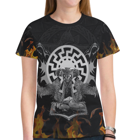 Viking Thor Hammer - Viking Raven All Over Print T-Shirt H5