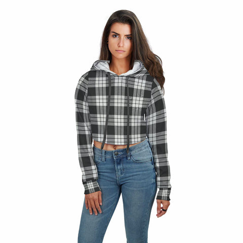 MacFarlane Black & White Ancient Tartan Crop Hoodie