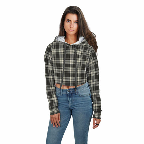 Menzies Black & White Ancient Tartan Crop Hoodie