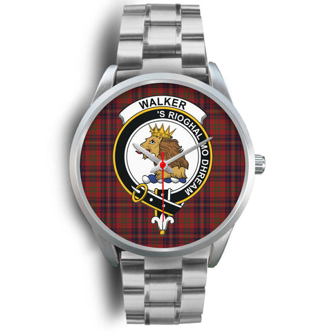Image of Walker Clan Badge Tartan Leather/Steel Watch - Silver - Bn08