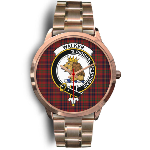 Image of Walker Clan Badge Tartan Leather/Steel Watch - Rose Gold